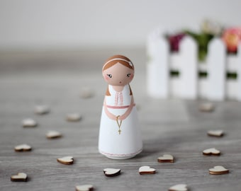 First communion gift peg doll, Birthday cake topper, Dollhouse wooden doll, handpainted wooden toy