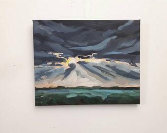 Original cloud painting, sky art, original painting, sky painting, oil on canvas, free shipping, indigo painting, cloud art, contemporary