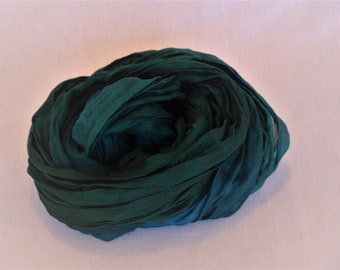 Blue silk scarf, feather light crinkle scarf in deep blue and green shade, beautiful accessory