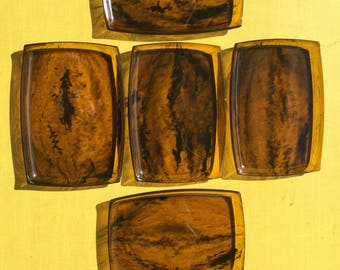 tobacco colored, swirl trays - set of 5