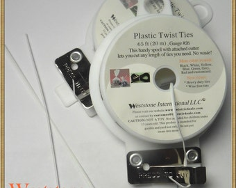 65FT Plastic Twist Tie Spool with Cutter - White Oval