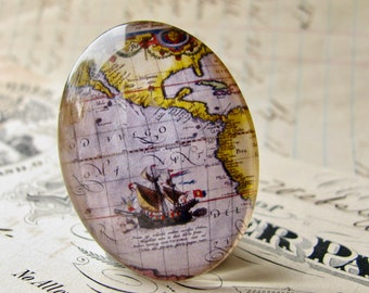 Historical Maps collection, ship detail, vintage sailing map, travel, navigation, handmade oval glass cabochon, 25x18mm