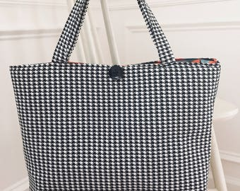 Tote bag - Computer Bag - Houndstooth Laptop Tote Bag - Carry All Tote