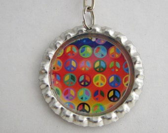 Colorful Peace Bottle Cap Keychain or Necklace made with Resin