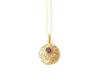 Tilaka Necklace - Garnet Gold Vermeil- On Sale!