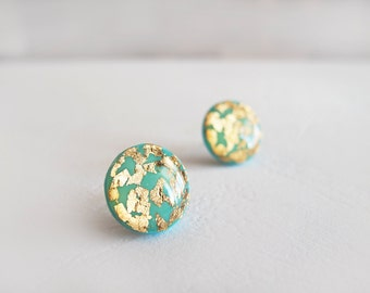 Turquoise Gold Round Stud Earrings - Hypoallergenic Surgical Steel Post