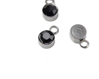 x 2 5 mm round stainless steel and black rhinestone pendants.