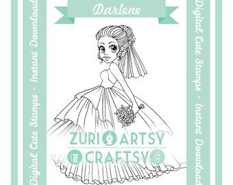 Darlene, Digital Stamp, Cute Girl, Scrapbooking Digital Stamp, Instant Download, Zuri Artsy Craftsy