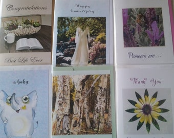 JW Greeting cards, variety 6 pack, sympathy, baby, baptism, anniversary, pioneers, thank you