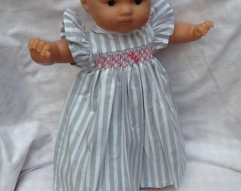 dress has grey and white striped smocked doll 36 cm