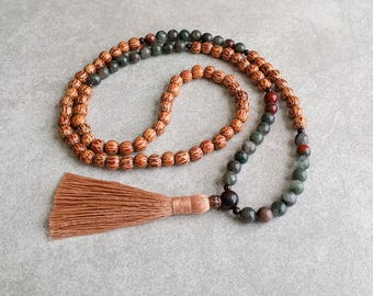 108 Mala Necklace - Palmwood with Bloodstone - Centering & Grounding - Meditation Beads - Item # 901