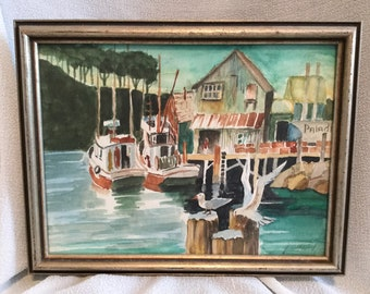 Canadian Artist Jean Hirst Framed 1993 Watercolor seagull, boats, marina theme