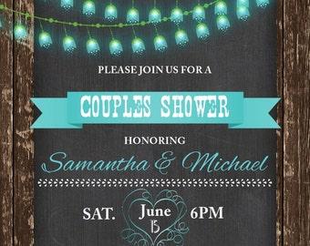 Rustic Invitation, Rustic BARNWOOD Invitation, STRING LIGHT, Chalkboard Invitations, Bridal Shower Invitation, Rustic Invite, printable