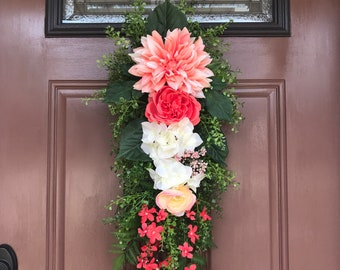 Spring Door Decor,  Front Door Swag, Spring Teardrop Swag, Wreath Swag