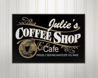 Personalized Coffee Shop Sign, Personalized Sign, Personalized Cafe Sign, Custom Wood Name Sign