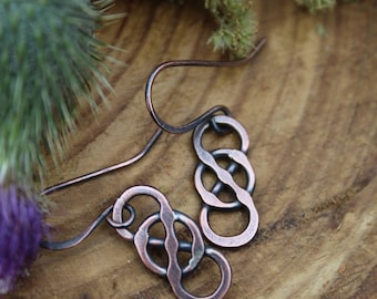 Celtic Copper Earrings, Hand Forged Earrings, Rustic Earrings, Wire Earrings, Copper Celtic Jewelry, Infinity Knot Earrings, Celtic Knot