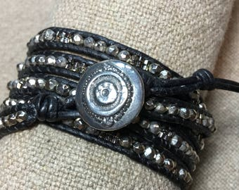 "Leather Wrap Bracelet ""Pyrite Silver Dream"""