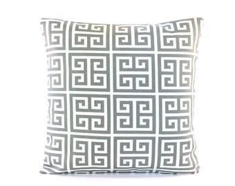 Gray OUTDOOR Throw Pillow COVERS Greek Key Pillow Cushion Cover Couch/Sofa Pillow Cottage Patio One or More All SIZES Gray White Outdoor