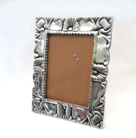 Vintage Large Silver Pewter Frame Embossed, Latino Mexican Aztec ...