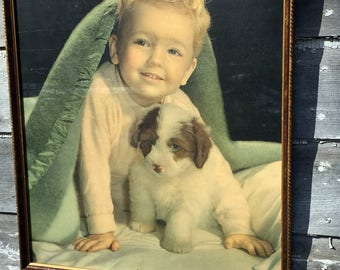 "Vintage Boy with Dog Puppy Print Titled ""Happy Little Rascal"" Children Child"