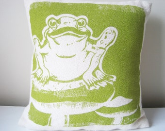 FROG Pillow Woodland Pillow, Green, 10 inch, Hand Printed Bark Cloth