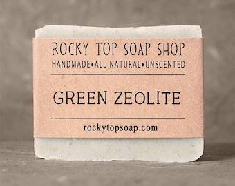 Green Zeolite Soap - Handmade Soap, Unscented Soap, Exfoliating Soap, Rustic Soap, Cold Process Soap, Natural Soap, Artisan Soap, Body Soap