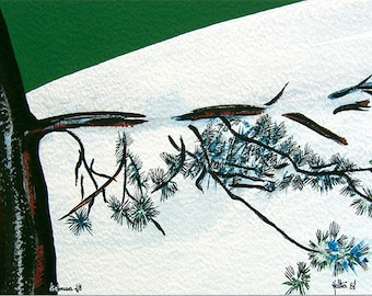 Pine branch. Gouache, watercolor and ink on vellum of Arches rough paper
