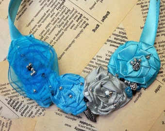 Pretty Beaded Rosette Necklace...Beautiful Blue and Silvery Grey with Hand Sewn Bead Accents