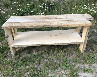 Rustic Barnwood Bench with Shelf