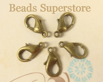 14 mm Antique Bronze-Plated Alloy Lobster Claw Clasp - Nickel Free, Lead Free and Cadmium Free - 20 pcs
