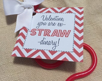 Printable Valentine's Straw Gift Tags  - Valentine, you are exSTRAWdinary- Valentine's Day Gift Tag