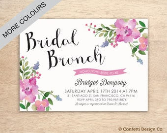 Printable Custom Bridal Brunch Invitation - Pink Florals - DIY printing