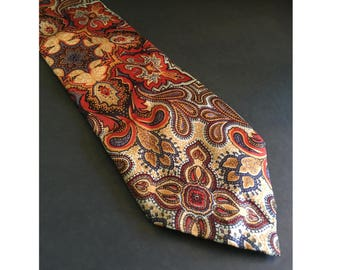 "1970s Vintage ""Kipper"" Tie. 4.25"" Wide Tie, Necktie, Floral, Paisley, Mod Pattern, Brown, Red, Gold, Blue, Gray, 56"" Length, Groovy Wide Tie"