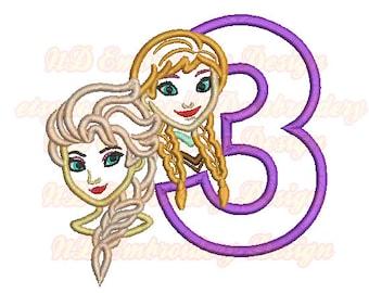 Niedliche Prinzessin Schwestern Gesicht 3. Stickerei Applikation entwerfen Geburtstag, Mädchen-Nummer 1-9-Auswahl, Gr-008-3
