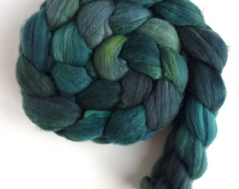 Rambouillet Wool Roving - Hand Painted Spinning or Felting Fiber, Holly Green