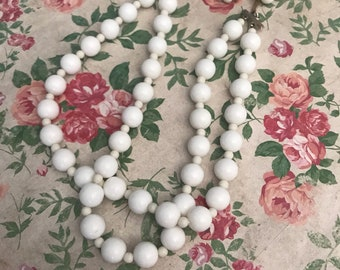 White beaded double strand necklace