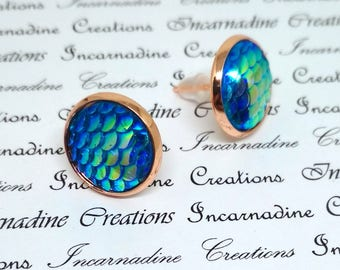 Light blue iridescent mermaid dragon scale post stud earrings