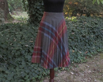 VINTAGE 70s WOOL SKIRT, Rainbow Plaid on blue/tan, pleated knee-length skirt, retro high-waisted, Preppy punk, Mad Men, Clueless Schoolgirl