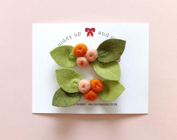 Pigtail Set Tangerine Orange Bud Flowers, Felt Flowers, giddyupandgrow