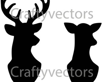 Stag & Doe Head Silhouettes Vector File SVG