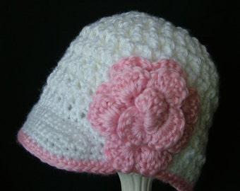 Baby Crochet Newsboy Hat with Flower