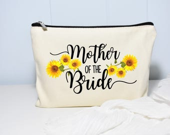Mother of the Bride Makeup Bag, Mother Of The Bride, Monogram Cosmetic Bag, Make Up Bag, Floral Bag, Sunflower wedding, Personalized