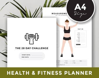 A4 size: Health & Fitness Planner - Meal planner, Workout Activity Log, The 28 Day Reset, The 28 Day Challenge Planner, PIIT28, Diet plan