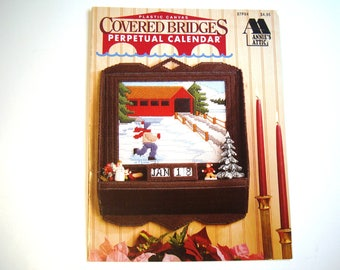 COVERED BRIDGES Perpetual Calendar Plastic Canvas PATTERN Booklet Annie's Attic # 87P94 Four Seasons Winter Spring Summer Fall Autumn