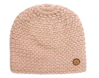 Bonnet rose parme, grosse maille 100% alpaga de teinte naturelle, fait main