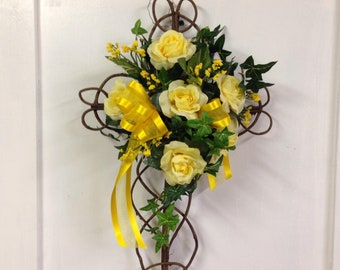 Made To Order Religious Cemetery Memorial Grapevine Cross Grave Marker Memorial Cross, Cemetery Flowers, Grave Flowers, Cross with flowers