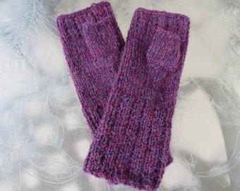Hand knit burgundy fingerless gloves