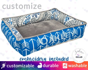 Blue & Gray Cozy Cuddle Cat Bed or Dog Bed with Name Embroidery | High Bolsters on all 4 sides  |  Washable, High Quality!
