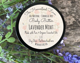 Lavender Mint Body Butter 6oz. All Natrual Chemical Free Homemade