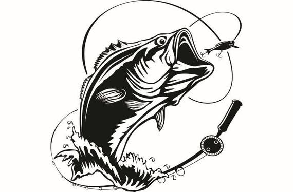 bass fishing 5 logo angling fish hook fresh water hunting rh etsystudio com Bass Artwork Pencil Drawings of Largemouth Bass